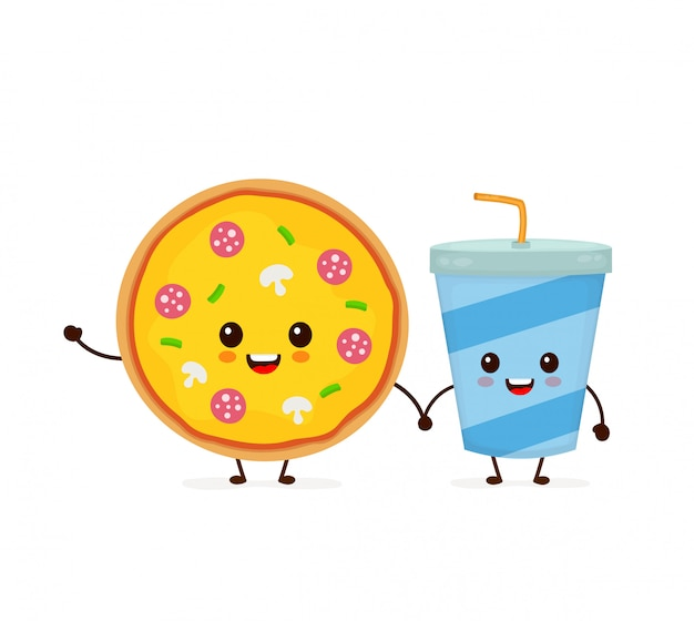 Cute funny smiling happy pizza and soda water cup