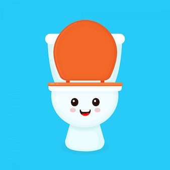 Cute funny smiling happy toilet bowl.  flat cartoon character illustration icon . isolated on blue . toilet bowl