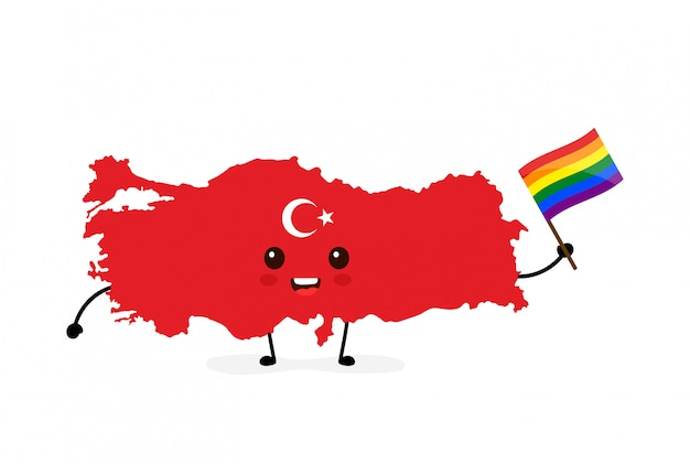 Cute funny smiling happy turkey map and flag character with rainbow lgbt gay flag.