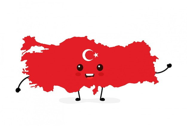 Cute funny smiling happy turkey map and flag character.