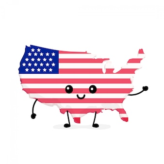 Cute funny smiling happy usa map and flag character.