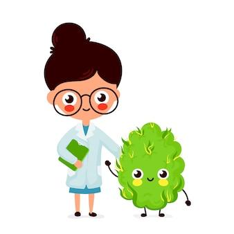 かわいい面白い笑顔の女性医師と幸せな医療大麻の芽。ヘルスケア雑草の助け。フラットの漫画のキャラクター。白い背景で隔離