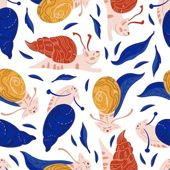 Cute and funny snails cats seamless pattern