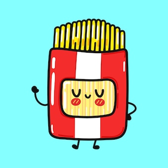 Cute funny spaghetti waving hand character