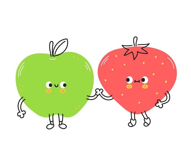 귀여운 재미있는 딸기와 사과 과일