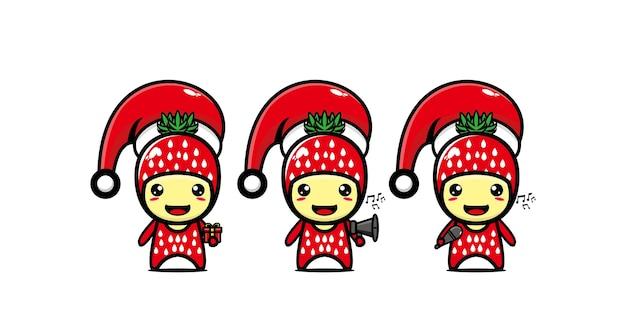 크리스마스 벡터 플랫 라인 귀여운 만화 캐릭터를 축 하하는 귀여운 재미 딸기 캐릭터