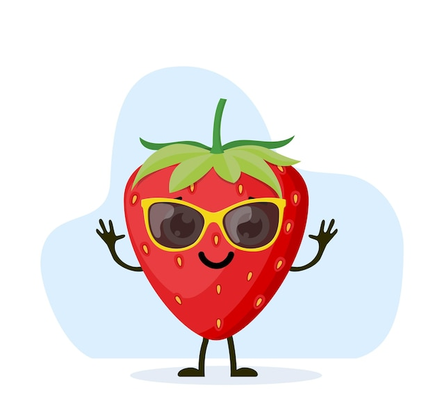 Cute and funny strawberry character