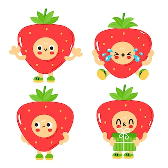 Cute funny strawberry with baby face set collection