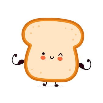 Cute funny strong bread toast show muscle character