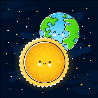 Cute funny sun and earth planet