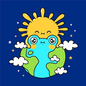 Cute funny sun hugs earth planet in cosmos space. vector hand drawn cartoon kawaii character illustration icon. sun and earth mascot character concept