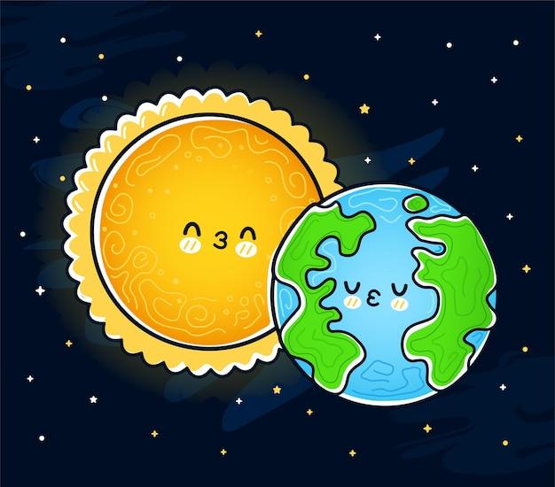 かわいい面白い太陽は地球惑星にキスします。