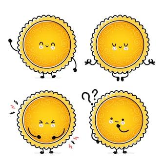 귀여운 재미있는 태양 세트 컬렉션