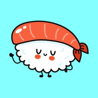 Cute funny sushi character