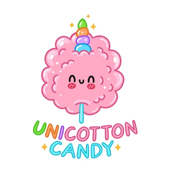 유니콘 뿔이 달린 귀엽고 재미있는 달콤한 솜사탕. 벡터 손으로 그린 만화 귀여운 캐릭터 그림 로고 아이콘. 흰색 배경에 고립. 달콤한 유니콘 설탕 솜사탕 로고 개념