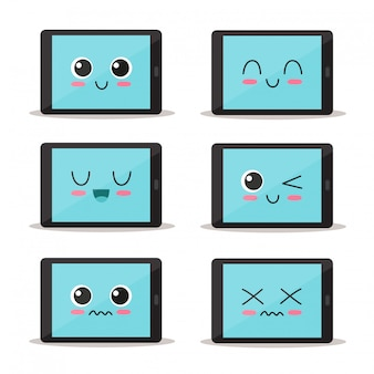 Cute and funny tablet set character