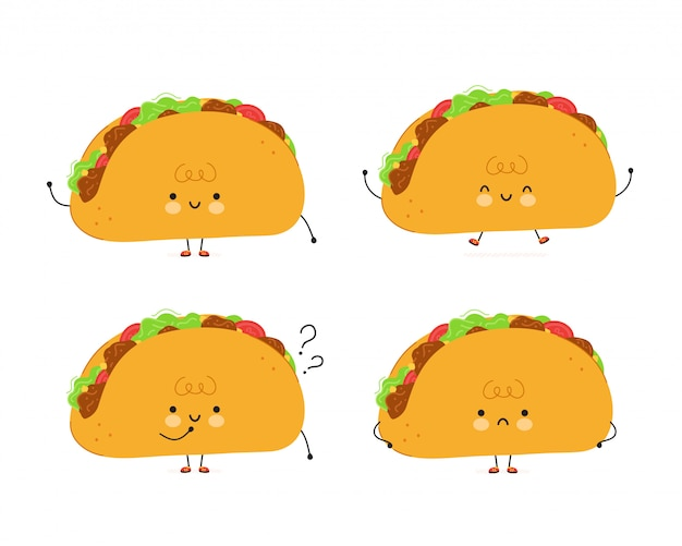 Cute funny taco characters set