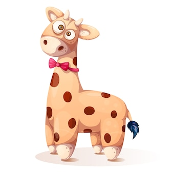 Cute, funny teddy giraffe - cartoon illustration.