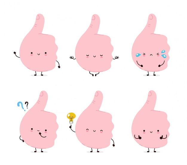 Cute funny thumbs up gesture set colllection.  cartoon character illustration icon design.isolated on white background