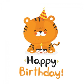 Cute funny tiger with cupcake. happy birthday hand drawn style card.  flat cartoon character illustration icon design.isolated