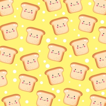 Cute and funny toast bread pattern smiling