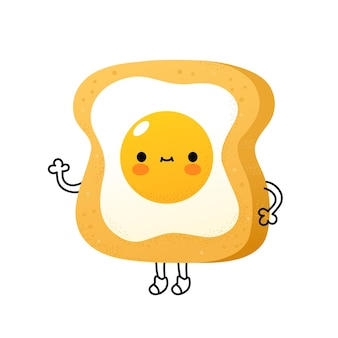 Cute funny toast with fried egg character. vector flat cartoon kawaii character illustration icon. isolated on white background. toast bread, fried egg, morning breakfast cartoon character concept