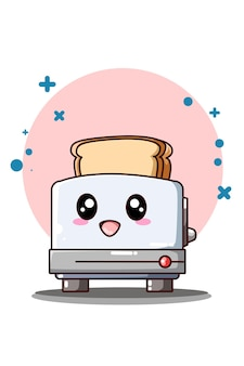 Cute and funny toaster with bread icon cartoon illustration