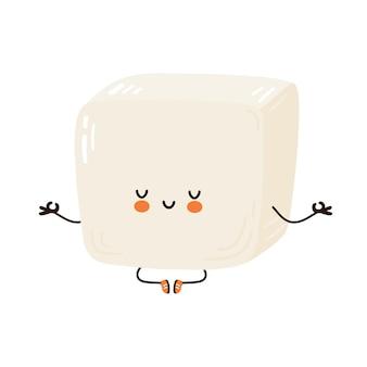 Cute funny tofu meditate in yoga pose