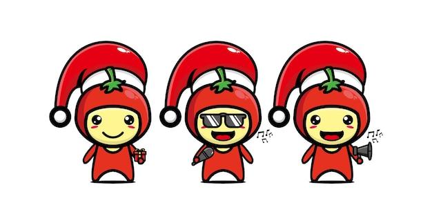 Милый забавный персонаж помидор празднует рождество вектор плоская линия каваи мультипликационный персонаж