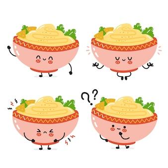 귀여운 재미있는 전통 후무스 그릇 캐릭터