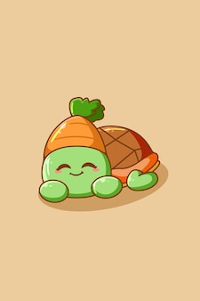 Cute and funny turtle cartoon illustration