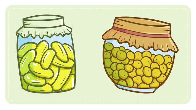Cute and funny two yummy pickles jar
