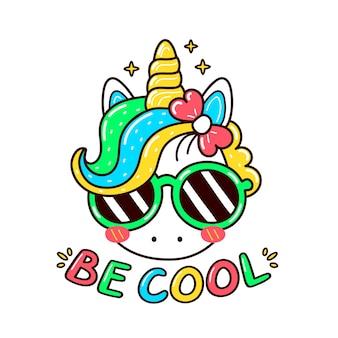 Милый забавный единорог в солнечных очках. плоский мультфильм каваи персонаж иллюстрации