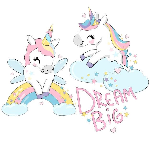 Симпатичные забавные единороги и радуга, красивая тенденция, детская печать, векторная иллюстрация dream big letters