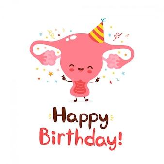 Cute funny uterus organ. happy birthday hand drawn style card.  flat cartoon character illustration icon design.isolated