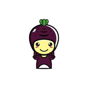 Cute funny vegetable cassava character vector cartoon kawaii flat style character illustration