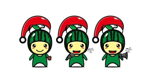 크리스마스 모자 벡터 플랫 라인 귀여운 만화 캐릭터에 귀여운 재미있는 수박 캐릭터