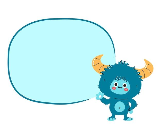 만화 텍스트 상자와 귀여운 재미 설인 괴물 캐릭터