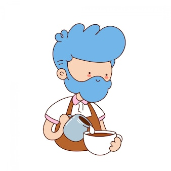Cute funny young barista make coffee. cartoon character illustration icon design.isolated on white background