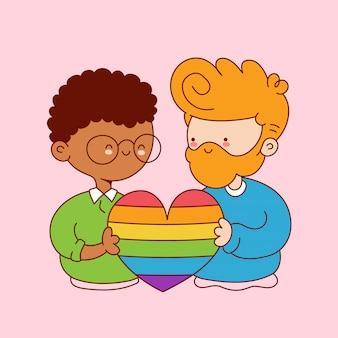 Симпатичные смешные молодые гей-пара держать сердце радуги. дизайн значка иллюстрации персонажа из мультфильма. изолированный на белой предпосылке