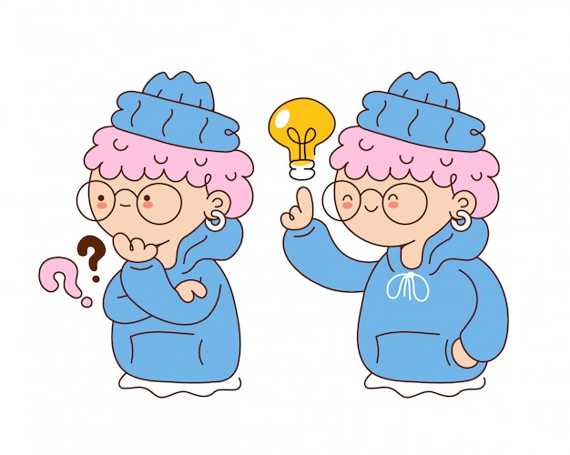 Cute funny young girl with question mark and idea lightbulb. cartoon character illustration.