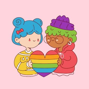 Милые смешные молодые лесбиянки держат радужное сердце. дизайн значка иллюстрации персонажа из мультфильма. изолированный на белой предпосылке