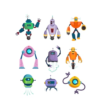 Cute futuristic robots flat icon set