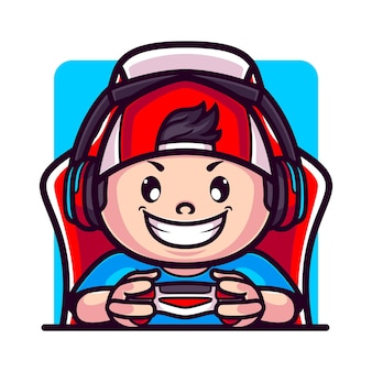 Cute gamer boy playing with controller and gaming chair cartoon