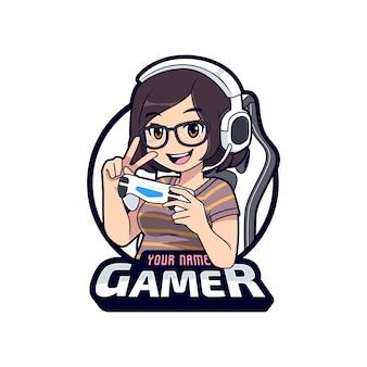 Cute gamer geek character mascot logo, gamer girl cartoon esport logo template