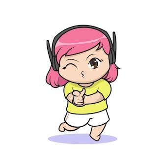 귀여운 게이머 소녀 일러스트 디자인
