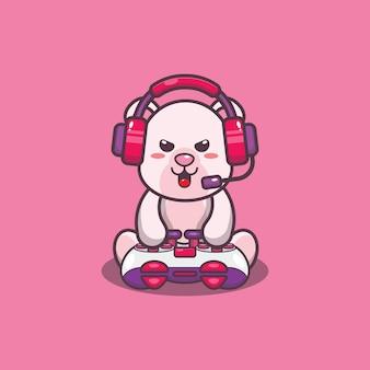 Cute gamer polar bear cartoon vector illustration