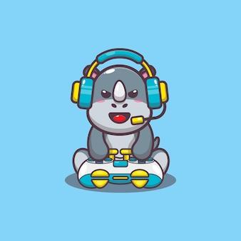 Милый геймер носорог мультфильм векторные иллюстрации