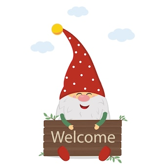 Cute garden gnome character with a wooden sign welcome, color vector illustration