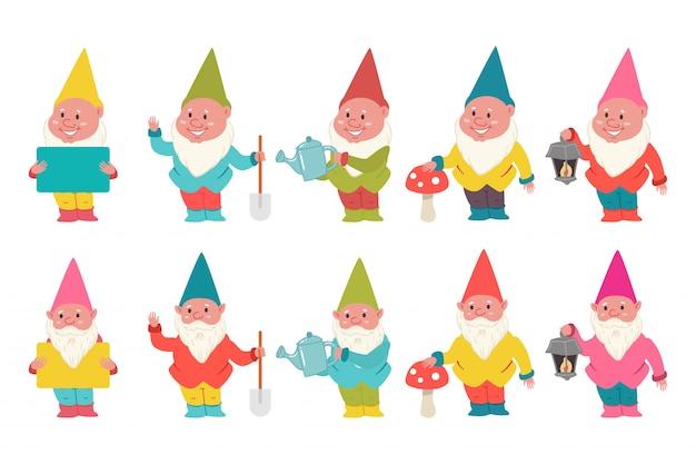 Cute garden gnomes cartoon characters set